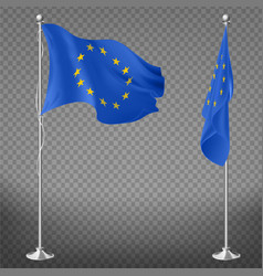 european union flag on flagpole realistic vector image