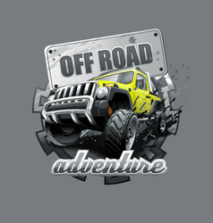 Extreme yellow off road vehicle suv vector