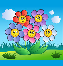 five cartoon flowers on meadow vector image