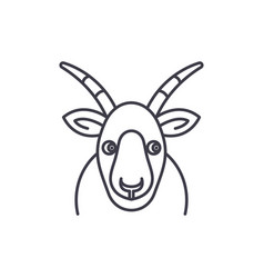 funny goat line icon concept funny goat vector image