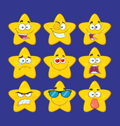funny yellow star character collection - 1 vector image