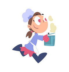 Girl chef cook running with hot pot cute child vector