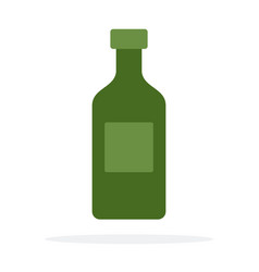 glass green bottle for oil flat isolated vector image