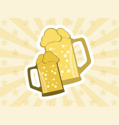 glasses of beer sticker with rays beer festival vector image