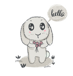 hand drawn cute rabbit with flowers and vector image