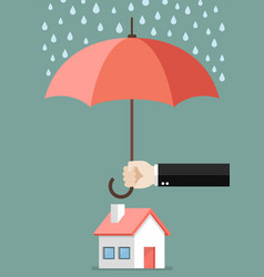 Hand holding an umbrella protecting house vector