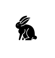 hare black icon sign on isolated vector image