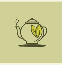 Herbal green tea cup logo herbal drink logo vector