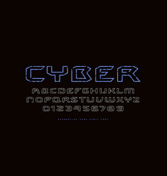 hollow extended sans serif font in cyber style vector image