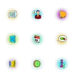 Management icons set pop-art style vector image