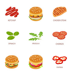 Meat pleasure icons set cartoon style vector