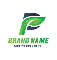 natural leaf logo letter p vector image