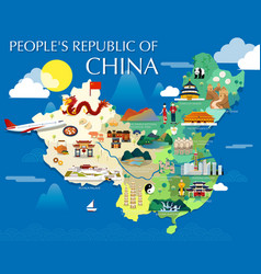 Peoples republic of china map with colorful vector