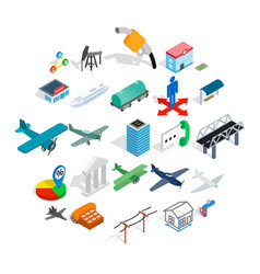 perfecting icons set isometric style vector image