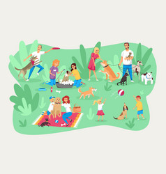 Pets and owners care responsibility family set vector