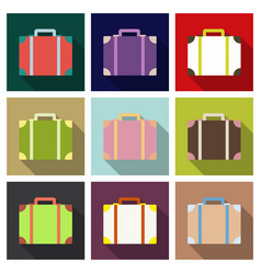 plastic metal leather suitcase bag travel vector image