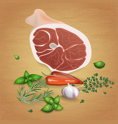 Pork ham with tasty sauces and spices vector
