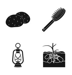 Potatoes comb and other web icon in black style vector