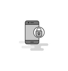 protected smartphone web icon flat line filled vector image