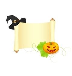 pumpkin and hat on a manuscript vector image