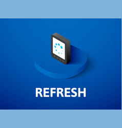 Refresh isometric icon isolated on color vector