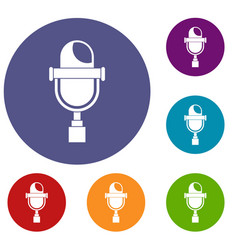 Retro microphone icons set vector