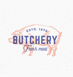 Retro print effect butchery abstract sign vector