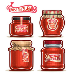 Rose petal jam in jars vector