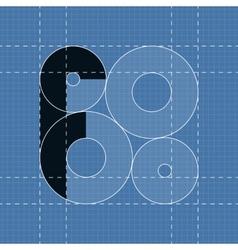 Round engineering font Symbol F vector image