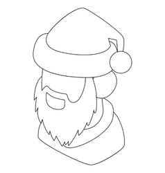 Santa Claus head icon outline style vector