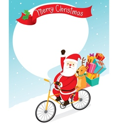 Santa Claus Riding Bicycle With Reindeer vector image