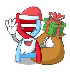 Santa with gift dna molecule mascot cartoon vector
