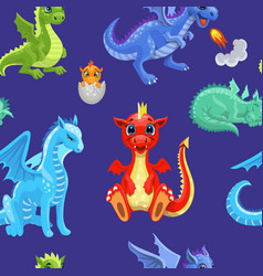 seamless pattern fire dragons or cute dinosaurs vector image