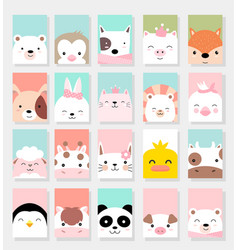 set cute baanimals with card for printing vector image