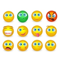 Set of Emoji emoticons face icons isolated vector