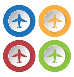 set of four colored icons with airplane vector image