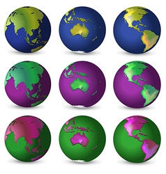 Set of globes in different colours vector image