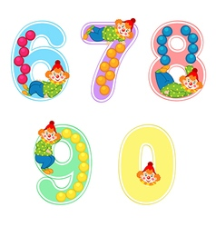 Set of numbers with clown juggler from 6 to 9 vector