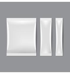 Set of White Blank Sachet Packaging vector