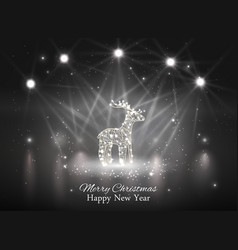 Shiny reindeer with spotlight on stage vector