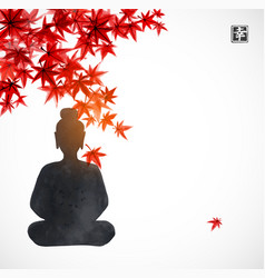 Silhouette buddha sitting under red vector