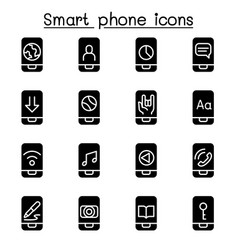 smart phone icon set vector image