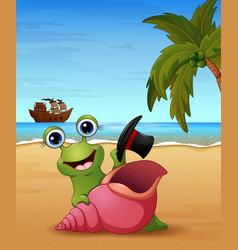 Smiling snail cartoon on the beach vector