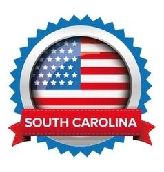 South carolina and usa flag badge vector