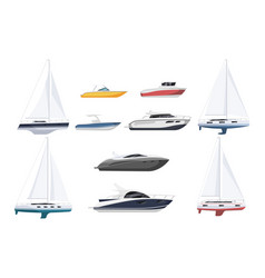 Speed boat sail-boat and luxury yacht set on vector