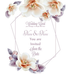spring flowers wedding invitation watercolor vector image