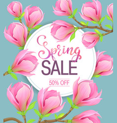 spring sale magnolia flowers vector image