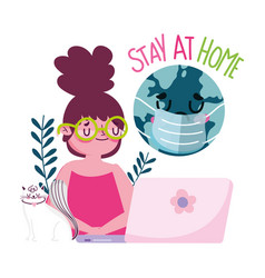 Stay at home young woman with cat laptop world vector