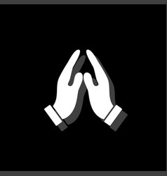 Supporting hands icon flat vector