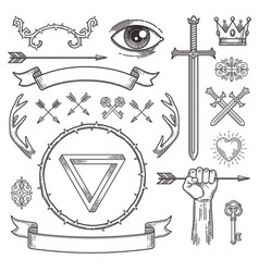 Tattoo style line art heraldic elements vector